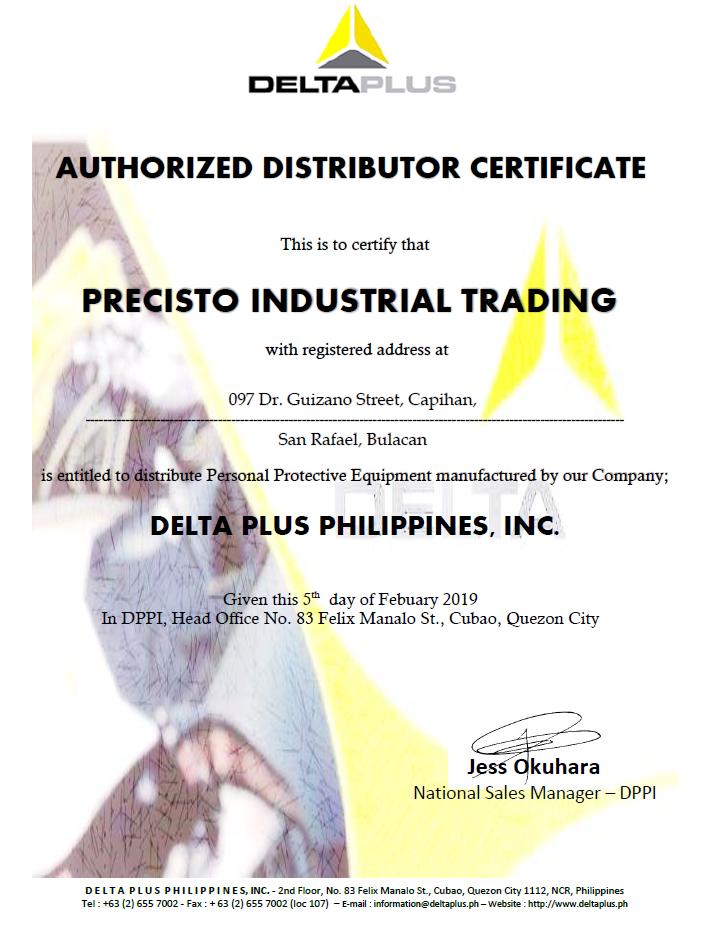 DELTAPLUS Distributorship Certificate (Precisto)