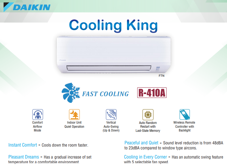 Daikin Cooling King Series Features