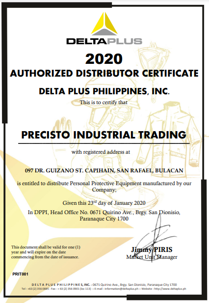 Delta Plus Distributor Certificate